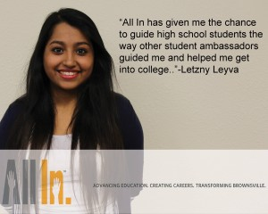 Meet Letzny Leyva! She is a new member to the All In Student Ambassadors. She graduated from Veterans Memorial High School and is now attending TSTC!